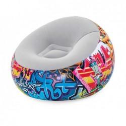 Chaise Longue Gonflable de 112x112x66 cm. Graffiti Bestway 75075