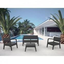 Muebles de Jardín Set Modelo Miami Antracita SP Berner 55393   PiscinasDesmontable